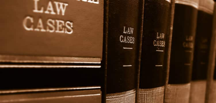 Law Books On Library Shelf